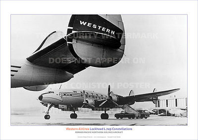 WESTERN AIRLINES LOCKHEED l.749 CONSTELLATION A3 POSTER PRINT PICTURE PHOTO x