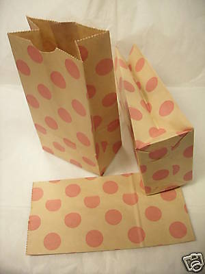 """Lot 100 Paper Merchandise Gift Jewelry Party Bag Pink Dot 4""""x8"""""""