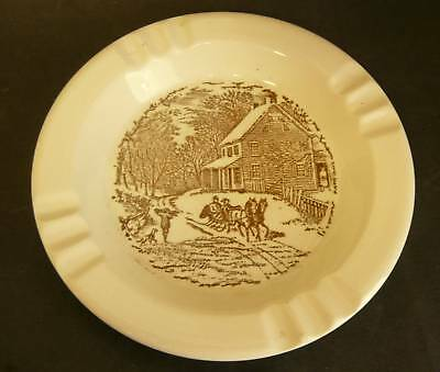 Vintage CURRIER & IVES BROWN ASHTRAY CIGAR MID CENTURY