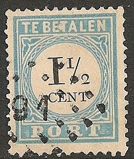 Netherlands 1881 NVPH Due 4feIII plate error  CANC  VF