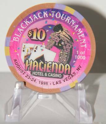 HACIENDA CHIP $10 BLACKJACK TOURNAMENT LAS VEGAS CASINO 1956 -1996 1 of 1000 OBS