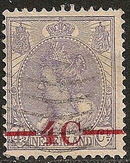 Netherlands 1921 NVPH 106P Error BROKEN 4  CANC  VF