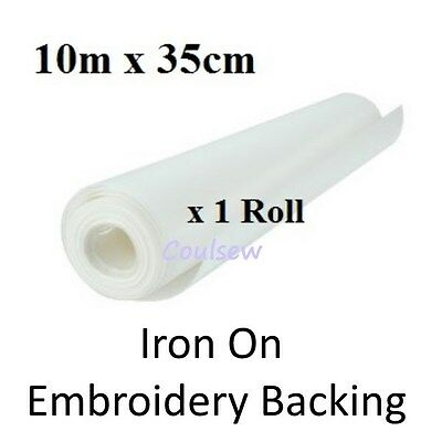 BROTHER TYPE EMBROIDERY BACKING STABILISER 10m x 35cm IRON ON - QUALITY STRONG