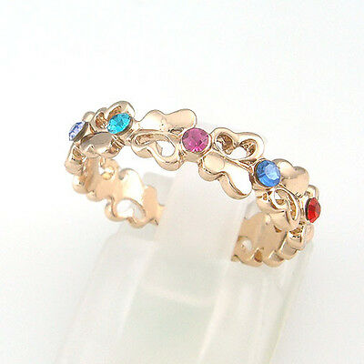 Simulated Colorfull Stone18K GP Butterfly Ring 016RR