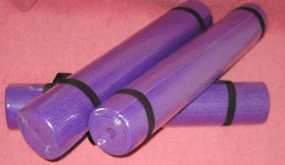 THiCK YOGA MAT WiTH STrAP EXERCISE FITNESS PILATES RUG PURPLE FOAM GYM TENT