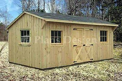 10 X 16 Saltbox Roof Style Storage Shed Plans 71016