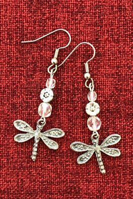 Dragonfly Beaded Earrings Medieval Celtic Surgical Steel Hooks Silver Pewter
