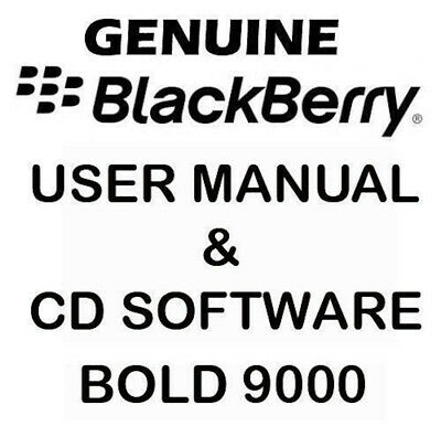 Original Genuine Blackberry Bold 9000 User Manual & CD software Tools NEW