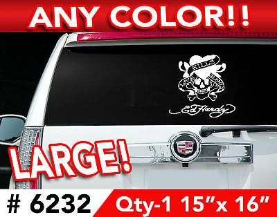 """ED HARDY Word SKULL  LARGE DECAL STICKER 15""""wx16""""h 6232"""