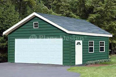 Garage Plans 20 x 28 Gable Roof Style / Workshop Building Plans #52028