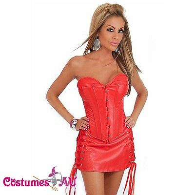 Red Corset Boned Lace Up G string Skirt S
