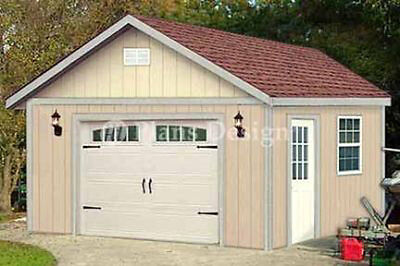 16 x 20  Garage Structure / Yard Storage Gable Shed Plans, Design #51620