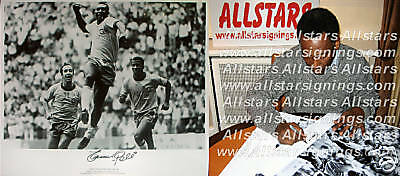 "RARE EDSON PELE SIGNED BRAZIL 24""x20"" FOOTBALL PHOTO SEE  PROOF WORLD CUP"