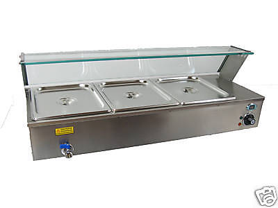 NEW ACE 3x1/2 gastronorm Wet Well Bain Marie with temp
