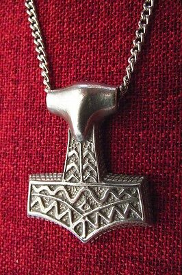 Thors Hammer Thor Thor's Norse Viking Pewter Pendant Stainless Steel Necklace