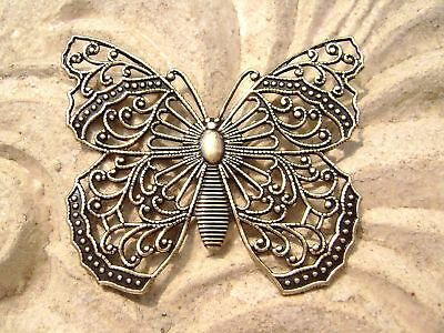 Pendant Charm Component Centerpiece Large Antique Gold Brass Filigree Butterfly
