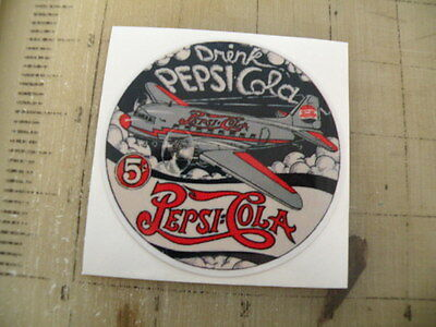 "Vintage Pepsi airplane sticker decal 3"" diameter"