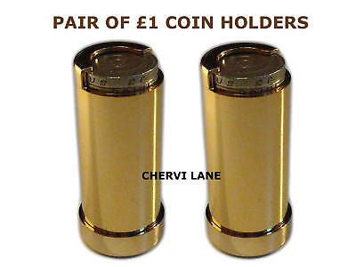 New Pair of £1 Pound Gold Finish Coin Holder Dispensers