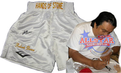 Roberto Duran Signed Hands Of Stone Embroidered Boxing Trunks Proof Leonard