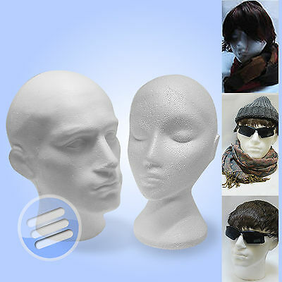 Polystyrene Male & Female Display Head Mannequins