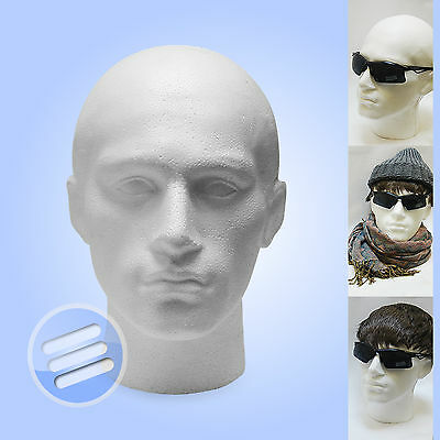 2 x POLYSTYRENE MALE DISPLAY HEAD MANNEQUIN WIGS, HATS