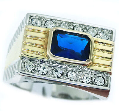 Mens Two Tone Blue Stone 18kt Gold Plated Ring New