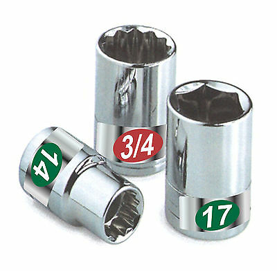 Chrome Socket Labels Organizers tough tool decals for mechanics & home craftsman