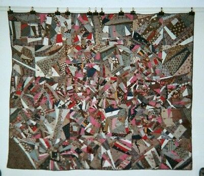 "Abstract ""CRAZY"" Quilt / Comforter with Red Ties: 62"" x 73"", c.1875-85. Cottons."