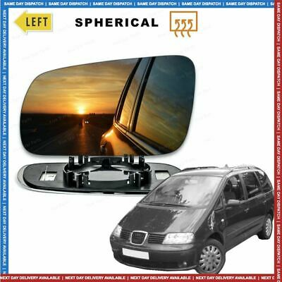Left Passenger side Convex Wing mirror glass for Seat Alhambra 2000-09 Heated