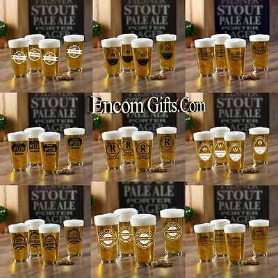 4 pc. Personalized Pint Beer Glass Set 16 oz Sports Bar Pub Man Cave Groomsman