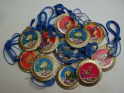 12 Old Gold Metal Dinosaur Charm Necklace Vending Toys