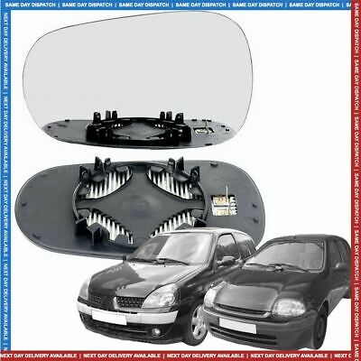 Left Passenger side Convex Wing mirror glass for Renault Clio 1994-2004 Heated