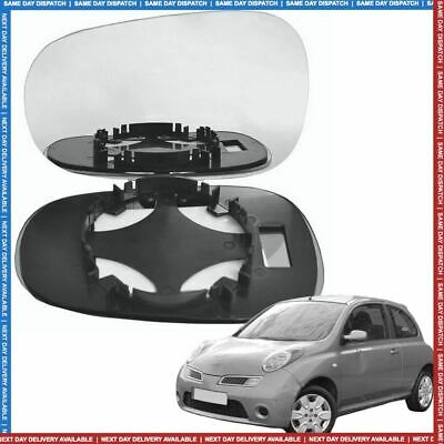 Left Passenger side Convex Wing mirror glass for Nissan Micra 2003-2009
