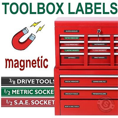 Magnetic TOOLBOX LABELS fits all Craftsman Boxes