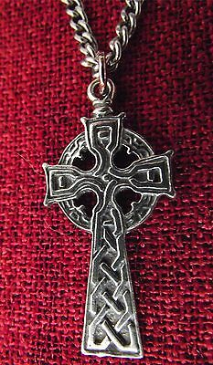 Celtic Cross Pendant Silver Pewter Irish Gift Stainless Steel Chain Necklace