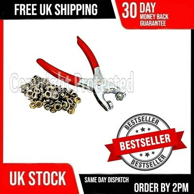 Craft Fabric Eyelet Pliers Tool Kit & 300 Free Brass Gold Eyelets Grommets 16A