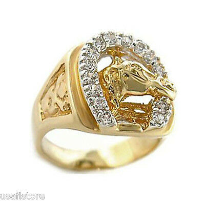Mens Russian CZ Horseshoe 18kt Gold Plated Ring New
