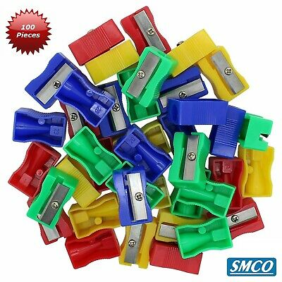 QTY 100 SMCO Plastic Pencil Sharpeners  4 assorted colours