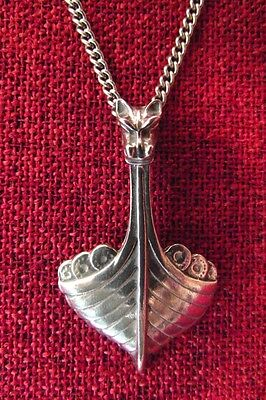 Viking Ship Norse Drakkar Odin Pirate Longship Medieval Pewter Pendant Necklace
