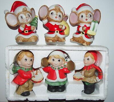 3 Homco Xmas Children Figurines Playing Instruments