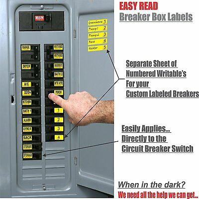 Breaker Panel Decals - label applies directly to Breaker Switch, Senior Friendly