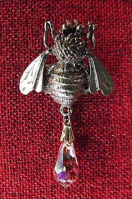 Bee & Crystal Celtic SCA Medieval Silver Pewter Brooch