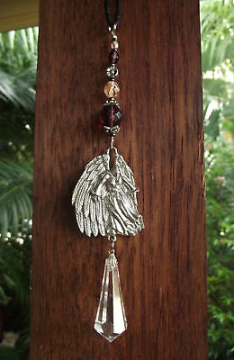 Angel & Crystal Heaven Guardian Protection Silver Pewter Car Suncatcher