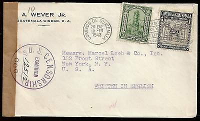 Guatemala 1943 censored cover to New York