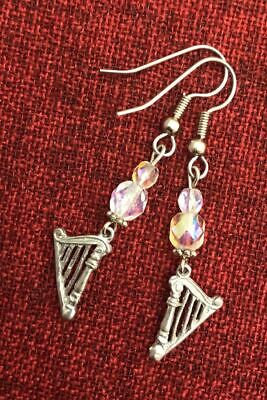 Irish Harp Celtic Earrings Iona Silver Pewter Crystal Bead Surgical Steel Hooks