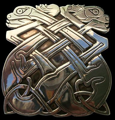 Solid 925 Sterling Silver Celtic Dogs Belt Buckle From Book Of Kells