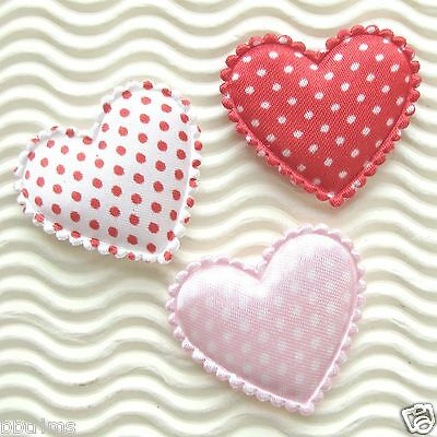 60x Large Satin Padded Polka Dots Heart Appliques ST407