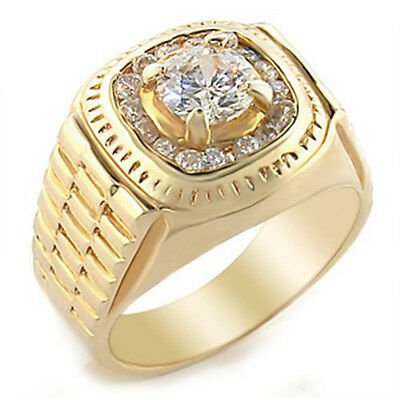 Mens Classic Design Clear CZ 18kt Gold Plated Ring New