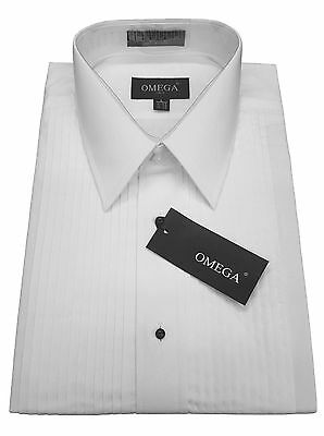 "NWT Omega LayDown Collar Tuxedo Shirt, 1/4"" pleat & Convertible Cuffs"