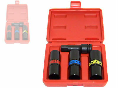 """4 pc 1/2"""" Dr Flip Lug Nut Impact Socket Back and Front Metric/SAE Thin Wall tool"""